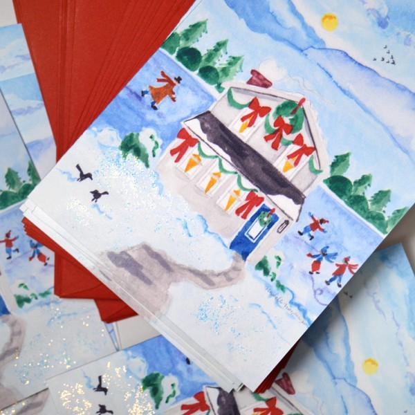 Custom illustrated lake cottage Christmas Cards. - www.mospensstudio.com