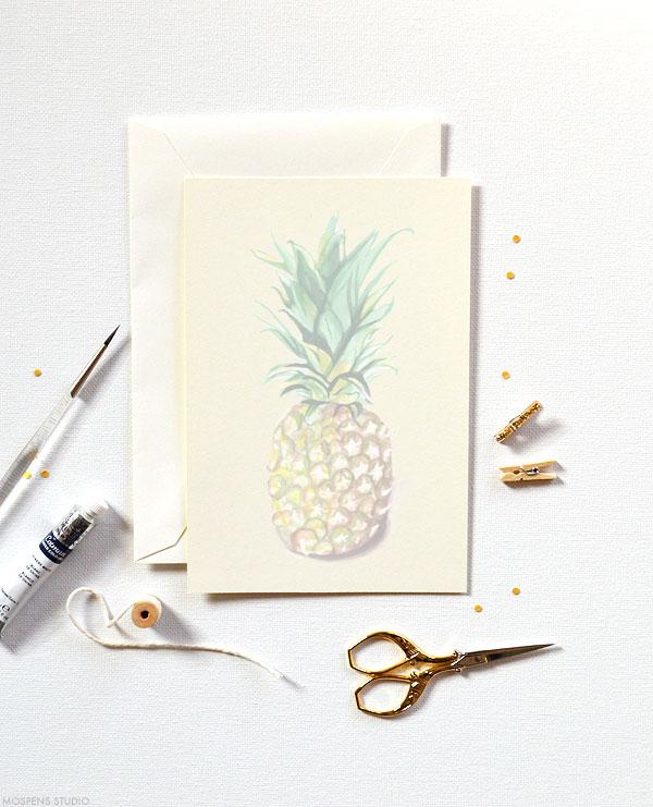 Troipcal chic! D.I.Y. pineapple watercolor invitation kits - www.mospensstudio.com