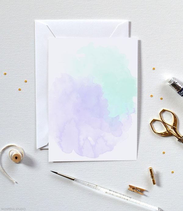 Fun & Modern! D.I.Y. watercolor invitations purple and mint green - www.mospensstudio.com