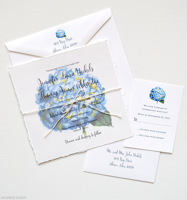 Blue watercolor hydrangea flower wedding invitations - www.mospensstudio.com