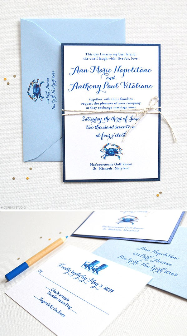 Watercolor blue crab wedding invitations and stationery - www.mospensstudio.com