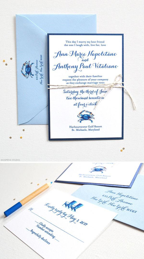 Watercolor blue crab wedding invitations and stationery - www.mospensstudio.com
