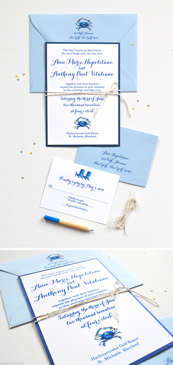 Watercolor blue crab wedding invitation suite - www.mospensstudio.com