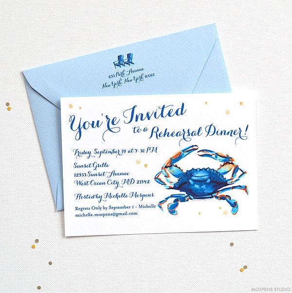 Fun watercolor blue crab wedding rehearsal dinner invitations - www.mospensstudio.com
