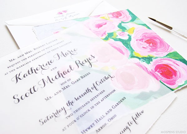 Hand painted floral wedding invitations - www.mospensstudio.com