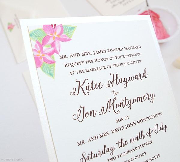 Hand painted wedding invitations - www.mospensstudio.com