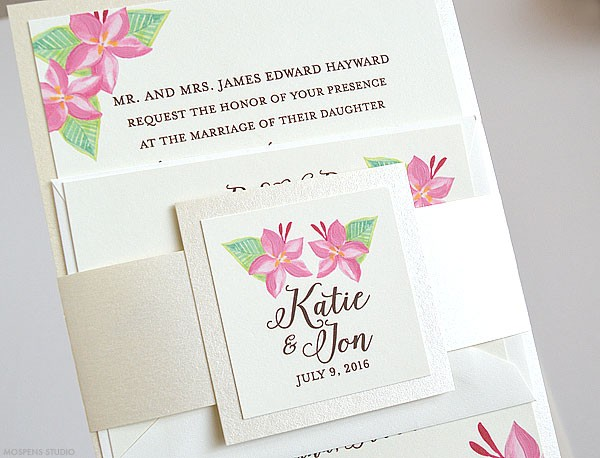 Hand painted tropical floral wedding invitations - www.mospensstudio.com