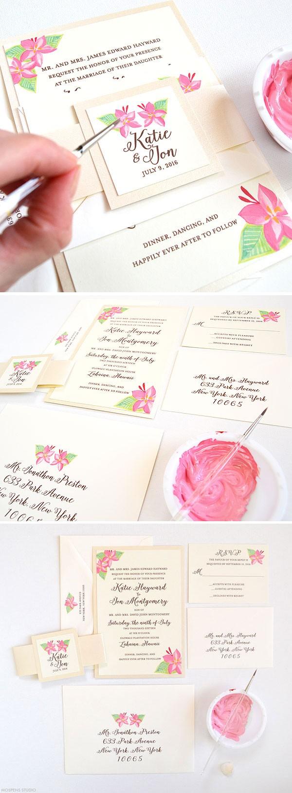 Hand painted floral wedding invitations - www.mospensstudio.com