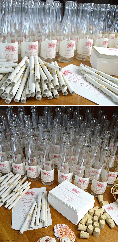 Tropical Message watercolor bottle wedding invitations - www.mospensstudio.com
