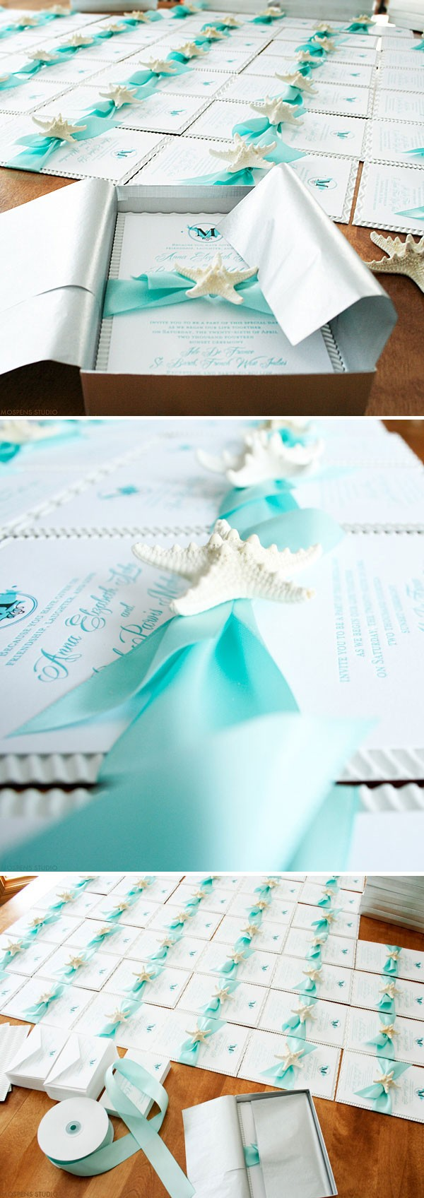 Beautiful Beach Wedding Invitations - The sea-worthy design features original art, ribbon, starfish, tissue paper, and invitation box. Completely customizable! Available online www.mospensstudio.com