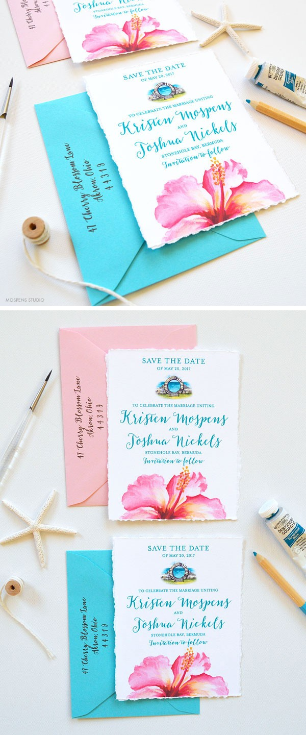 Tropical destination wedding save the dates - www.mospensstudio.com