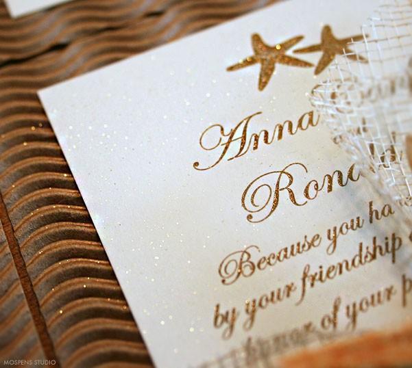 Gorgeous sparkly glitter gold beach wedding invitations - www.mospensstudio.com