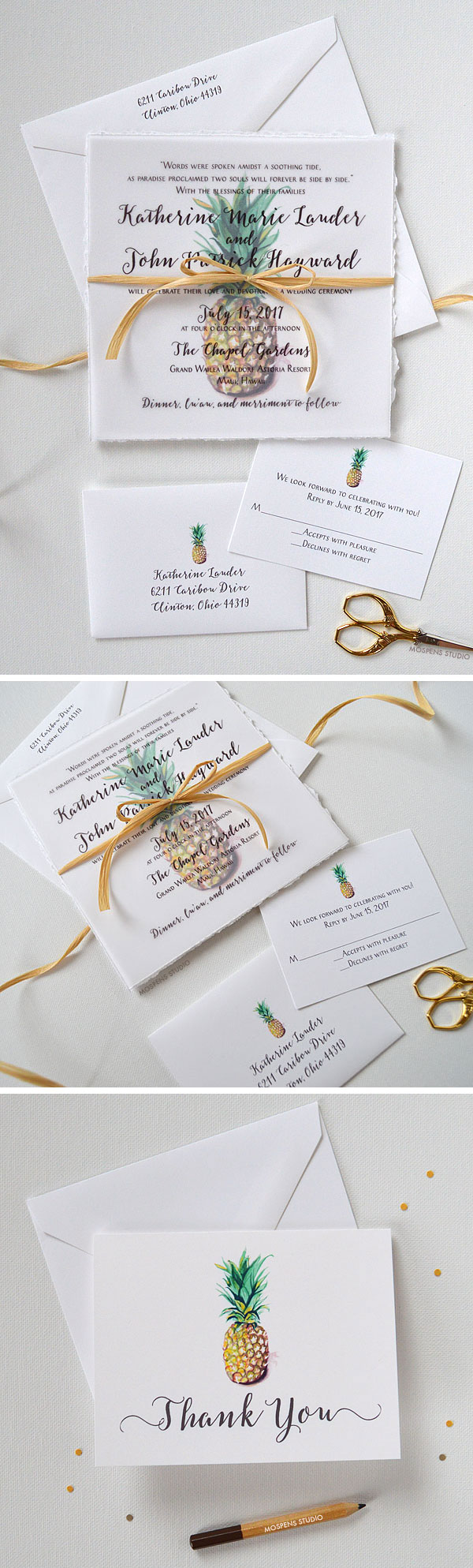 ALOHA! The Pineapple Wedding Invitation design features hand-torn deckled edges, pineapple watercolor art, and lovely hand-tied wraphia. Overlay with text reveals a pineapple print keepsake for your guests. Now available! - www.mospensstudio.com