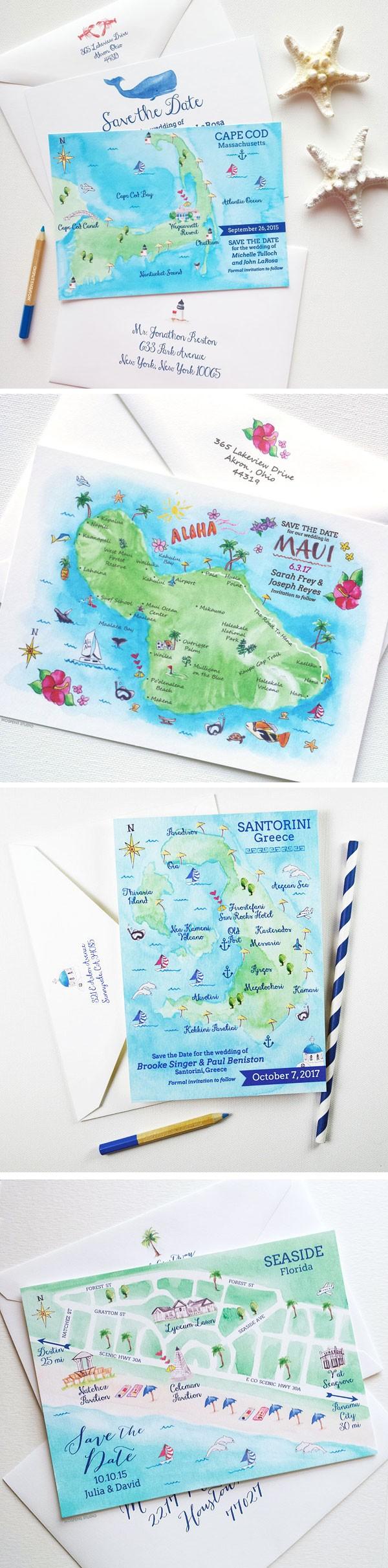 Watercolor Florida Map.Watercolor Map Save The Dates Mospens Studio