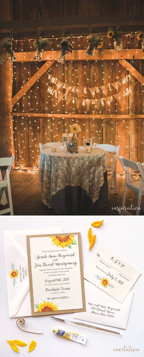 Rustic Sunflower Wedding Inspiration | One-of-a-kind Hand ...
