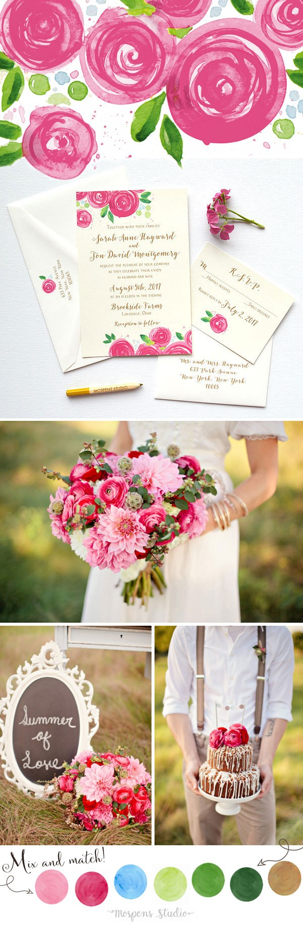 Late Summer Wedding Ideas You'll Love! Michelle Mospens original Raspberry Rose Blooms hand-painted art in watercolor. Each design is then printed stroke for stroke for a LOVELY hand-painted effect. www.mospensstudio.com