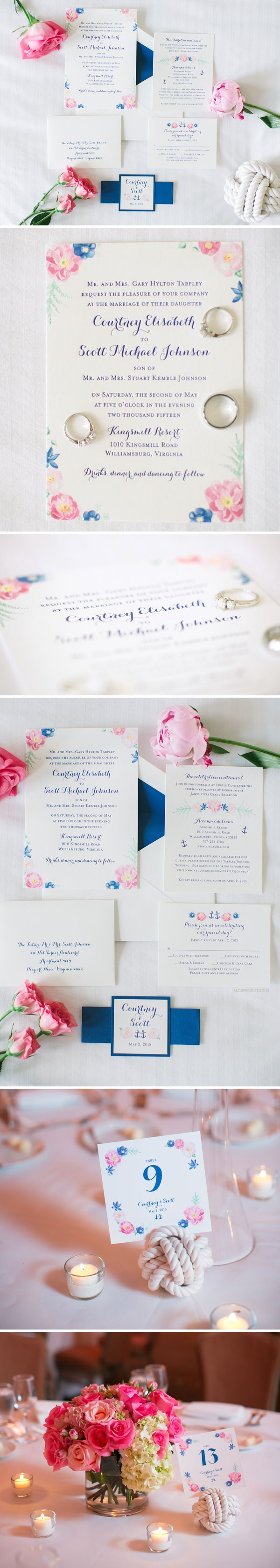 Elegant Floral Wedding Invitations - The custom design features original watercolor flowers and anchors artwork, letterpress printing, handmade custom belt, and envelope liner. www.mospensstudio.com