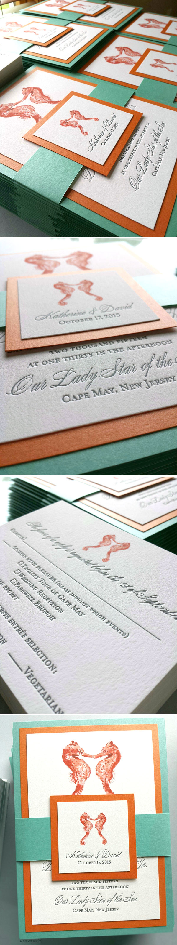 Beautiful Beach Wedding Invitations - The sea-worthy design features original seahorses watercolor art, letterpress printing, custom belt, and 3 card layers. Completely customizable! Available online www.mospensstudio.com
