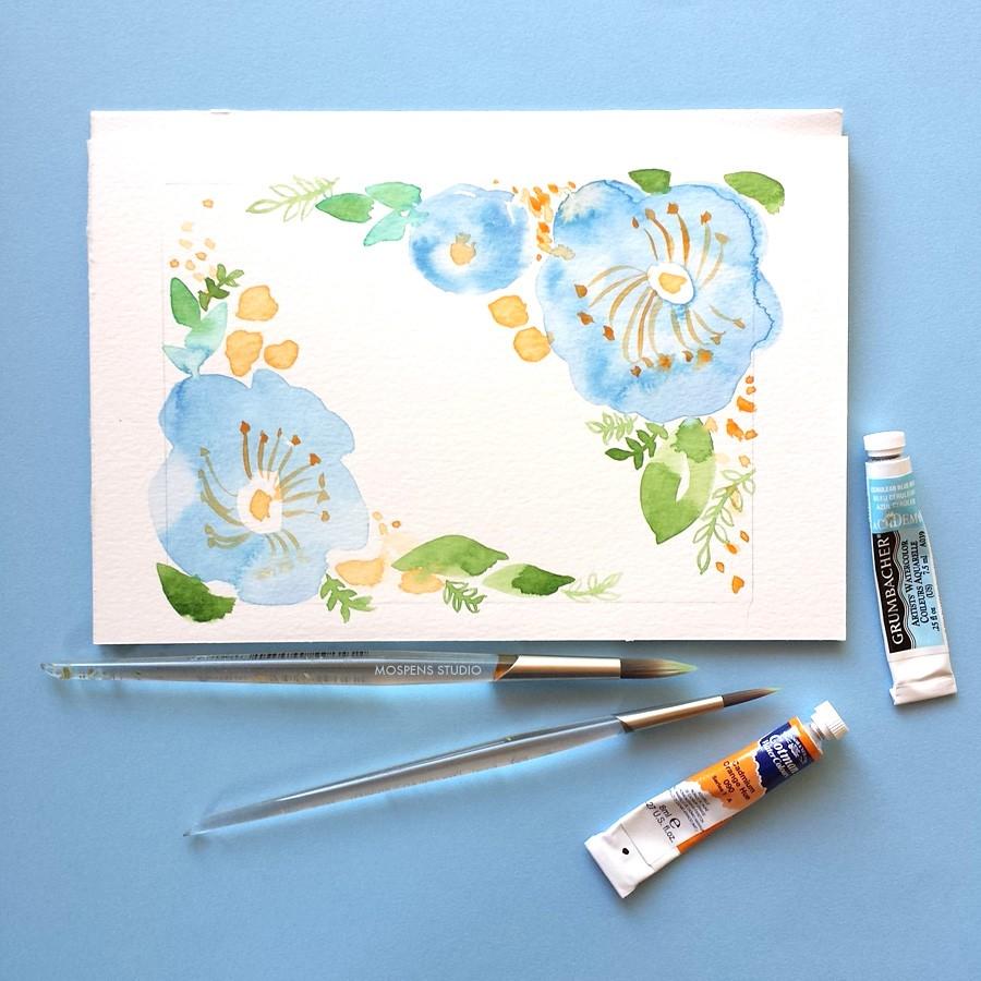 Light blue watercolor flowers by artist Michelle Mospens - www.mospensstudio.com