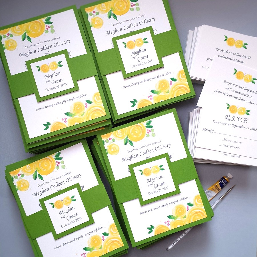 Yellow and green custom wedding invitations with yellow watercolor rose blooms by artist Michelle Mospens - www.mospensstudio.com