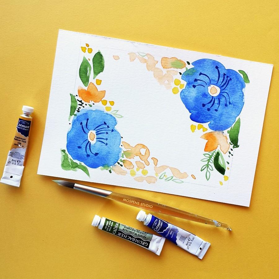 Royal blue watercolor flowers by artist Michelle Mospens - www.mospensstudio.com