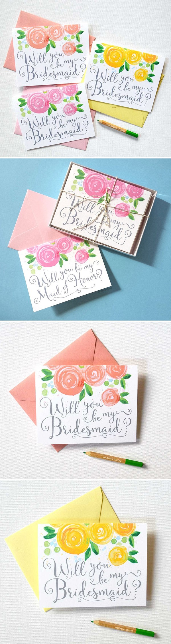 So pretty! Watercolor Will You Be My Bridesmaid Cards by artist Michelle Mospens. 100% original art. - www.mospensstudio.com