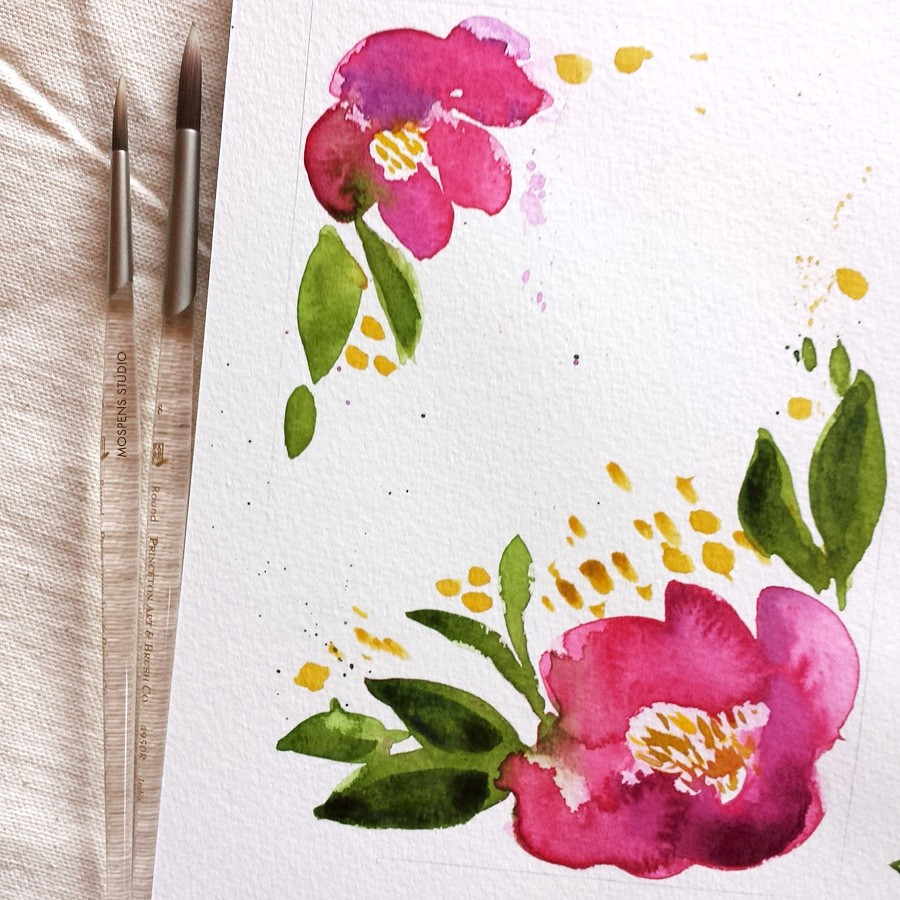 Sangria red watercolor flowers by artist Michelle Mospens - www.mospensstudio.com