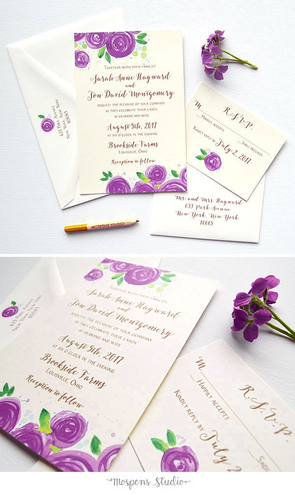 Purple Custom Wedding Invitations - Mospens Studio